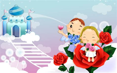 wallpaper kartun cinta romantis