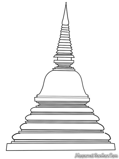 Mewarnai Gambar Kuil Budha | Mewarnai Gambar