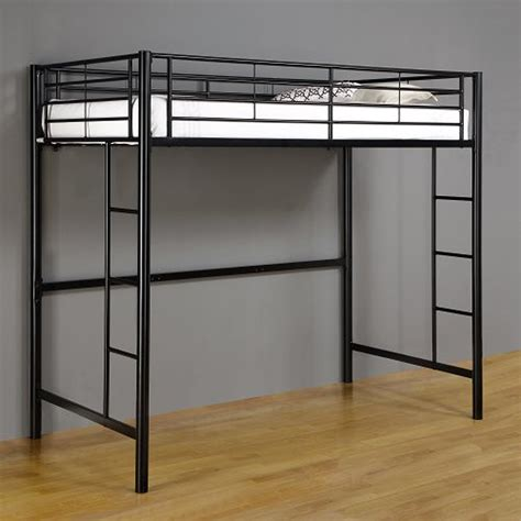 twin loft beds walker edison steel twin size loft bed black btolbl