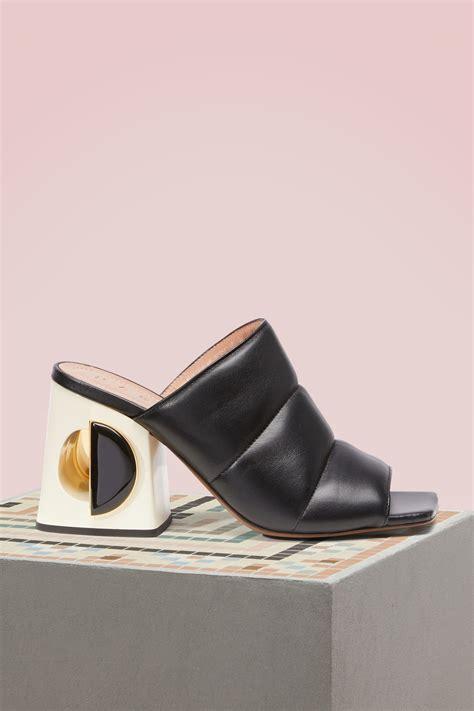 black leather high heel mules marni high heel black leather mules modesens