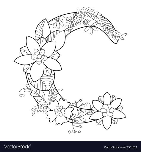 C Coloring Pages For Adults by Letter C Coloring Book For Adults Royalty Free Vector Image