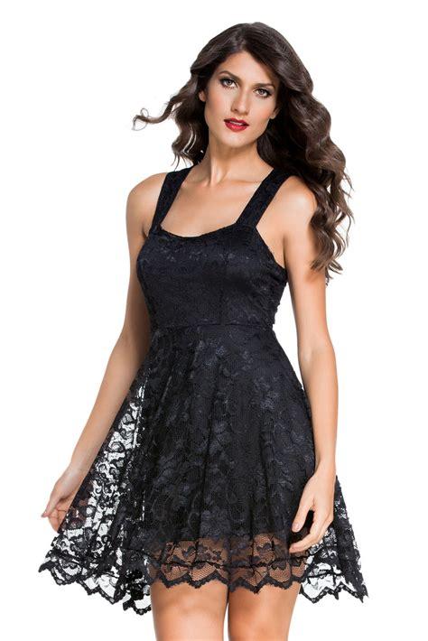 Minidress With Polyester Spandex Materials Jg8263 flattering black lace skater mini dress m l xl plus size