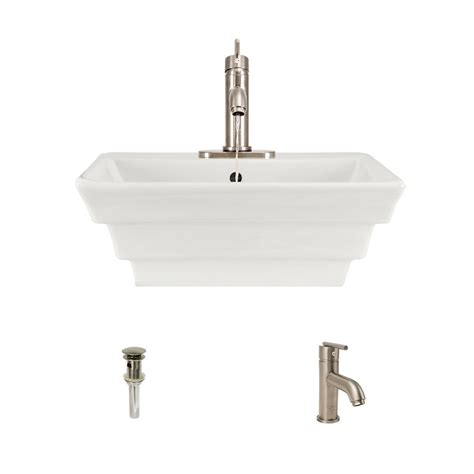 bisque kitchen faucet mr direct porcelain vessel sink in bisque with 753 faucet and pop up drain in brushed nickel