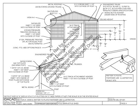 free pole barn plans blueprints 3040pb1 30 x 40 x 12 pole barn plans blueprints