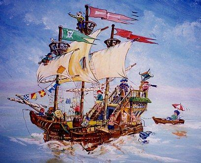 mural  pirate ship charlies room  toys bedroom