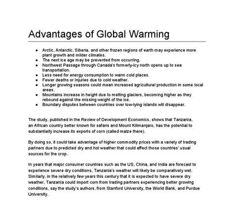 sle essay about global warming advantages and disadvantages of global warming essay