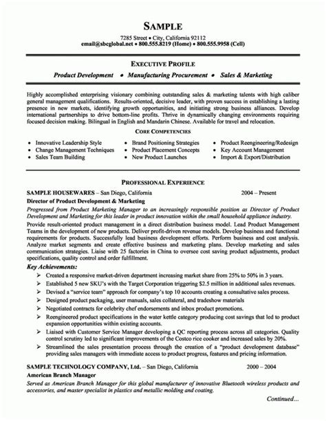 product development manager resume sle 143 best images about resume sles on