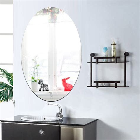 Self Adhesive Bathroom Accessories 27x42cm Bathroom Self Adhesive Removeable Oval Mirror Wall Sticker Home Decor Alex Nld