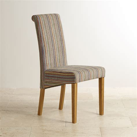 multi coloured chairs scroll back dining chair in striped multicoloured fabric