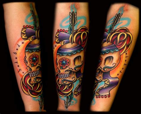 new element tattoo arm new school skull by artistic element ink