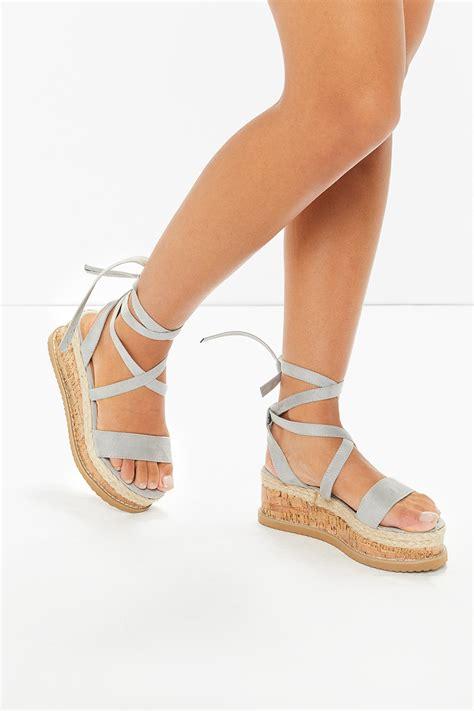 tie up sandals ariella grey suede tie up espadrille platform sandals