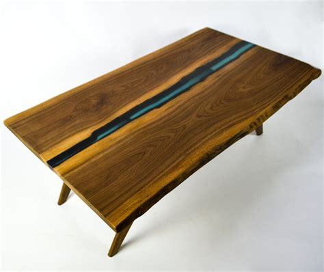 Resin River Coffee Table Natural live edge slab table on