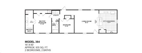 Oak Creek Homes Floor Plans Model 364 16x60 2bedroom 2bath Oak Creek Mobile Home