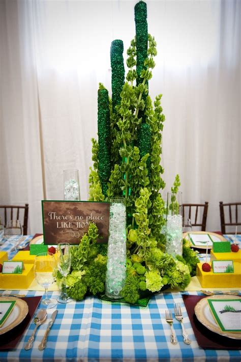 created a floral emerald city centrepiece for a