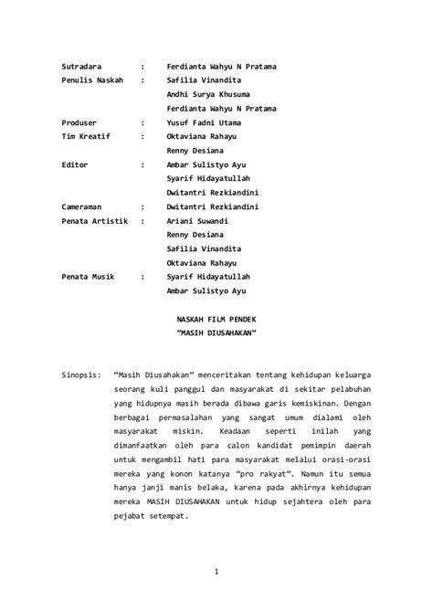 naskah film pendek natal naskah drama film singkat contoh sur