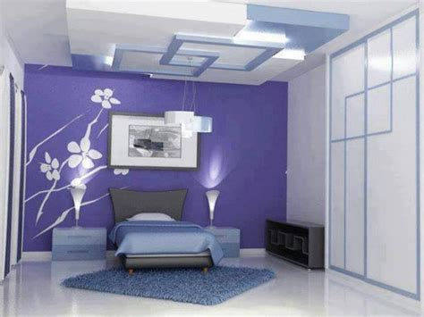 Pop Design Bedroom Wall Beautiful Pop Design For Bedroom Interior Decorating Ideas With Flower Stencil On Blue Wall