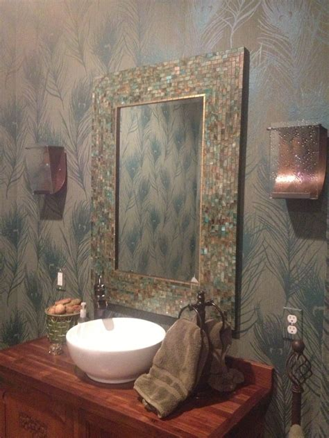 bathroom mosaic mirror peacock themed bathroom with wallpaper and mosaic mirror