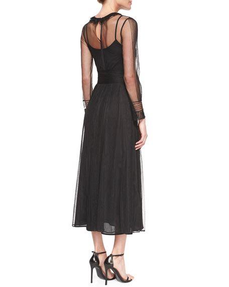 A Line Chiffon Midi Dress valentino sleeve chiffon midi dress
