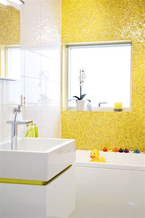 yellow bathroom yellow tile rubber duckies modern sink fun bathroom for
