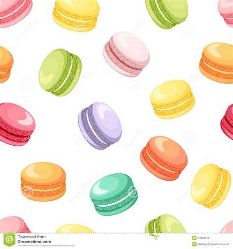 cute macaron pattern seamless pattern with colorful macaroon cookies on white