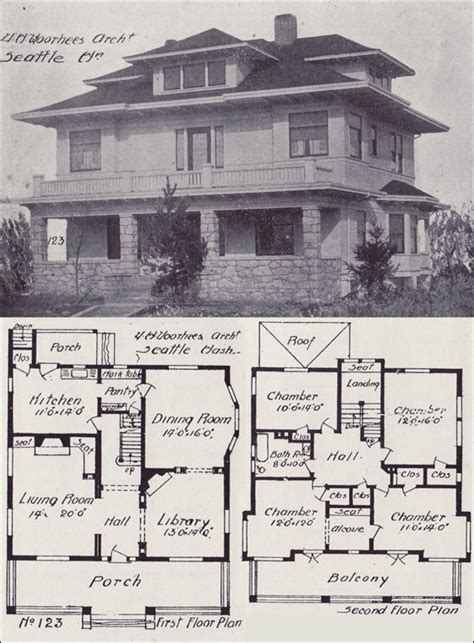 Home Plans Seattle | 1908 western home builder prairie box house plan