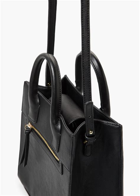 Handbag Tote Bag Black lyst mango zip tote bag in black