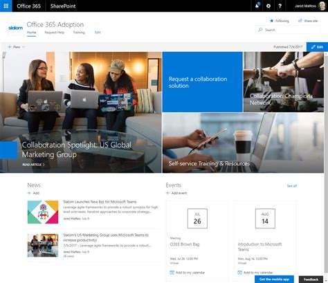 adoption websites sharepoint communications for your office 365 adoption site jared matfess s