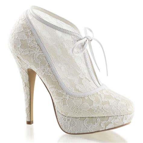 Wedding Heels by Ivory White Lace Bridal Vintage Wedding