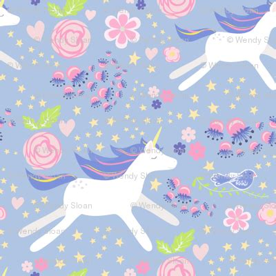 pastel unicorn pattern unicorn floral blue violet and pink bright pastel fabric