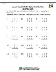 subtraction without regrouping worksheets for grade 4