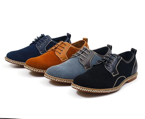 mens faux suede casual or dress lace up shoes leather