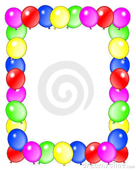 birthday balloons border frame stock photo image