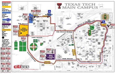 texas tech cus map 2014 citibus route football gameday by texas tech athletics issuu