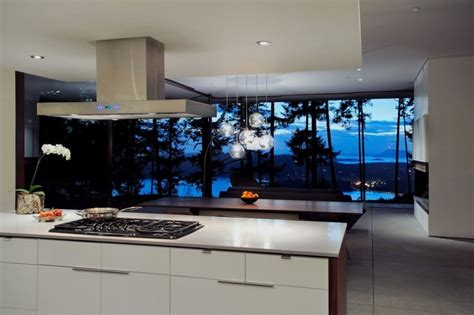 kitchen view open and simple l shaped house in nature site eagle ridge residence home building