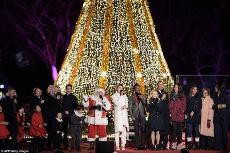 Barack Obama Michelle Sasha And Malia Attend National Obama Lights Tree