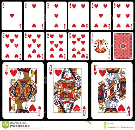 printable playing card stock klassieke speelkaarten harten stock afbeeldingen