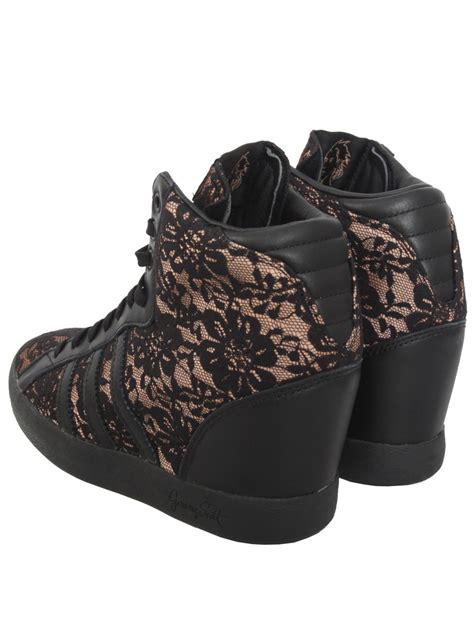 black wedge sneakers for adidas lace wedge sneakers black in black