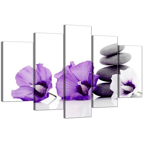 large flowers canvas wall 5 panel in purple