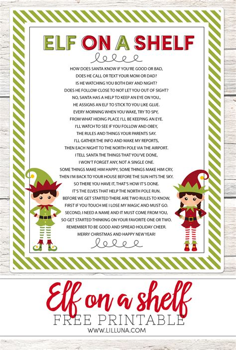 printable elf story elf on the shelf story free printable poem lil luna