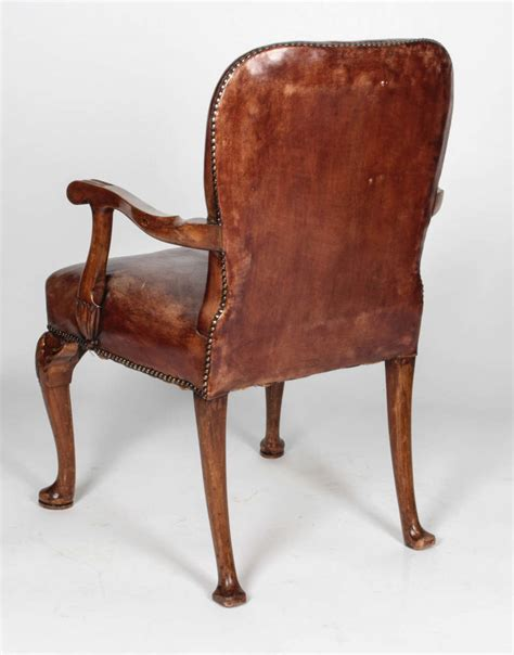 queen anne leather recliner queen anne style distressed leather arm chair at 1stdibs