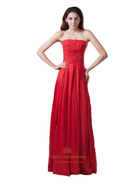 Strapless Floor Length Dress by Strapless Floor Length Appliqued Prom Dress With Embellished Bodice Fancy Bridesmaid Dresses