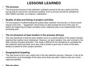 Sample Lessons Learned Report Project Lessons Learned Images