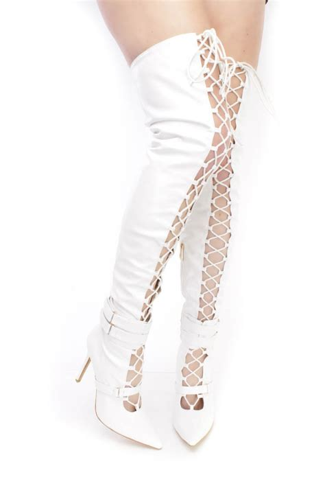 white lace up single sole high heel thigh high boots faux