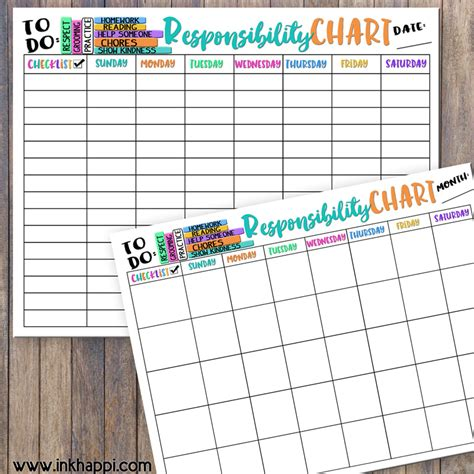 printable toddler responsibility chart printable back to school responsibility chart