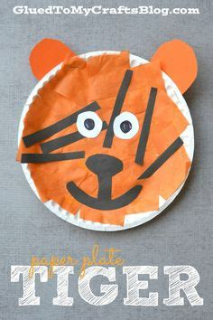 Tiger Paper Plate Craft - popsicle stick pirate ship kid craft