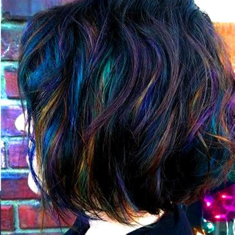 slick multicolored wig