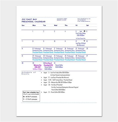 monthly calendar template preschool preschool calendar template 4 for daily weekly