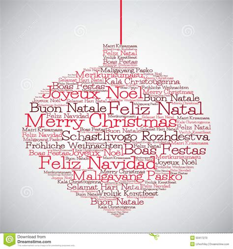 christmas bauble   merry christmas   languages stock vector image