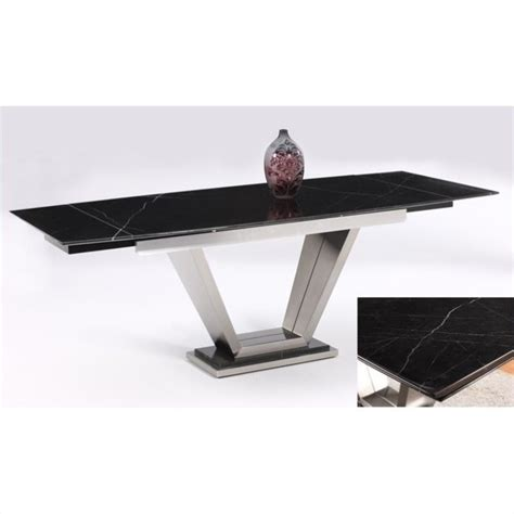 Chintaly Jessy Black Marble Top Extension Rectangular Table Top Extenders