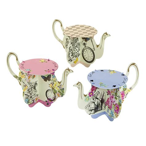 alice  wonderland teapot cupcake stands  postbox party